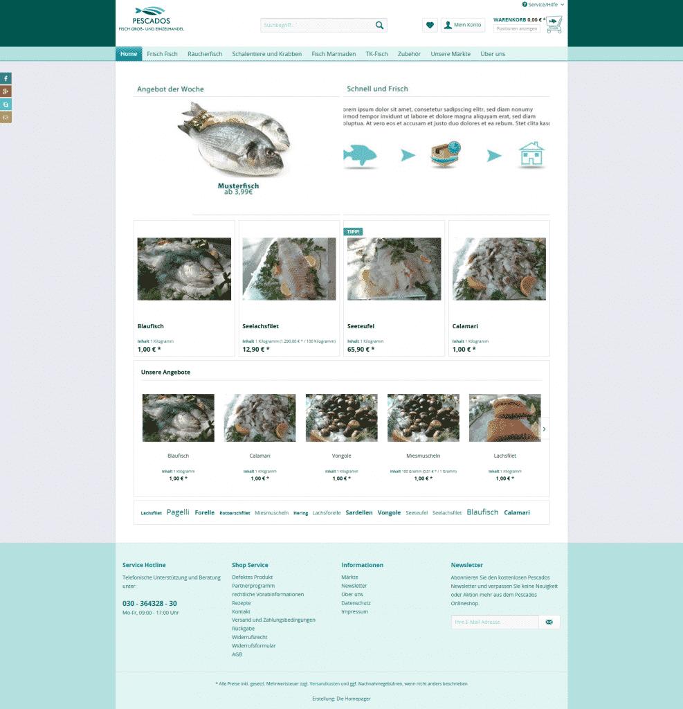 Startseite Onlineshop Pescados Fischhandel