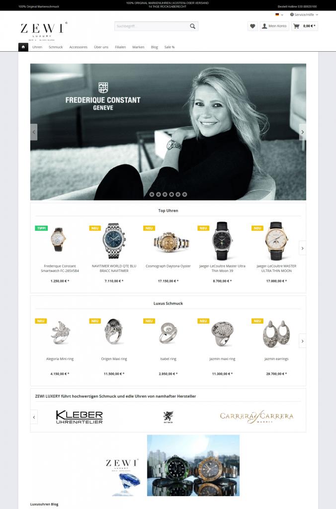 Startseite Onlineshop ZEWI Luxury Berlin