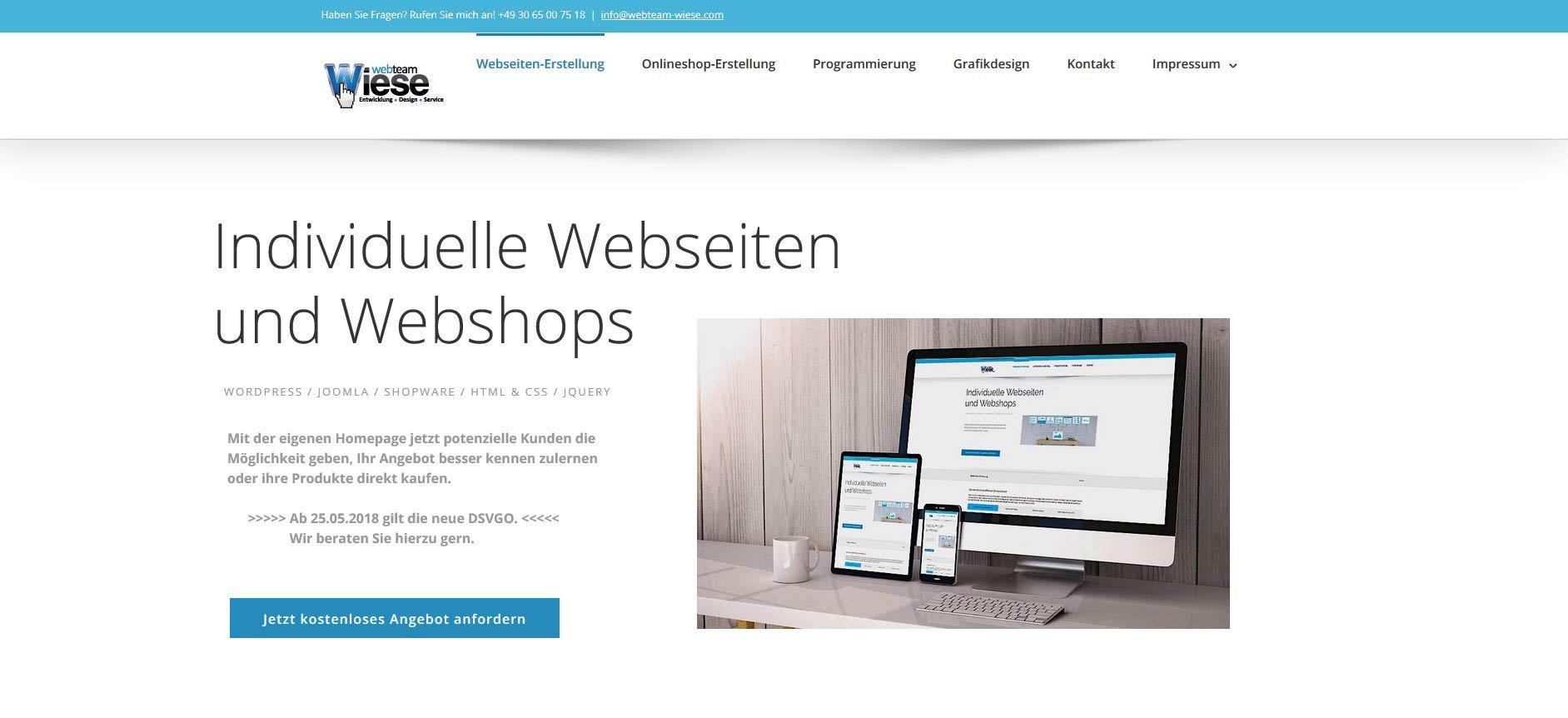 Webseite Mit Responsive Design Erstellen Lassen Von Webteam Wiese