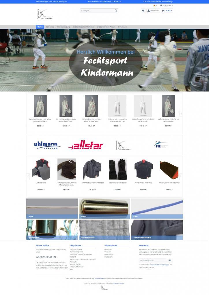 Startseite Onlineshop Fechtsport Kindermann