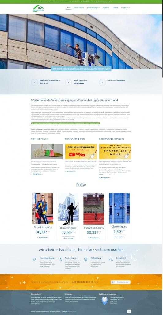 Webseite Gebäudereinigung Kordik