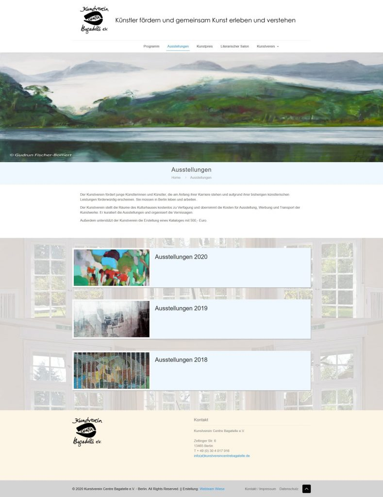 Webseite des Kunstvereins Centre Bagatelle
