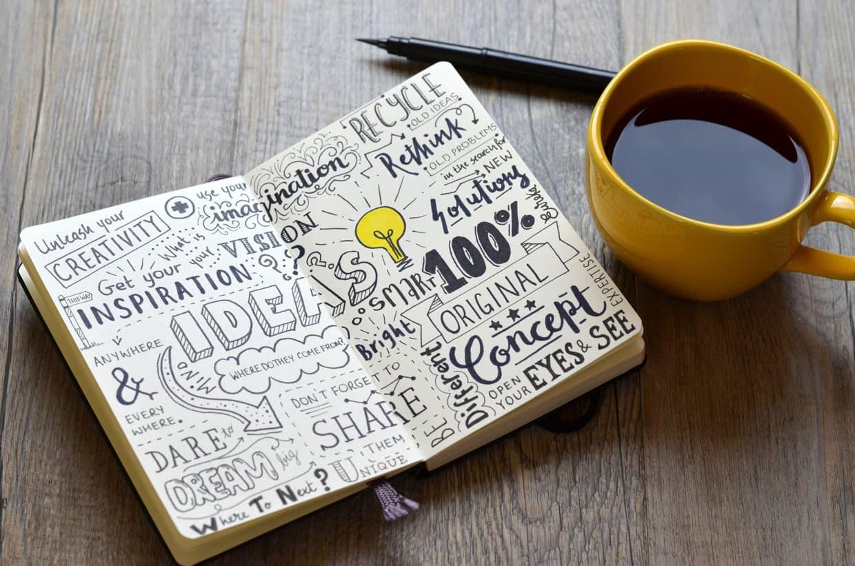 aussergewoehnliche-Ideen aufgeschlagenes Buch und daneben eine Tasse Kaffe und 1 Stift